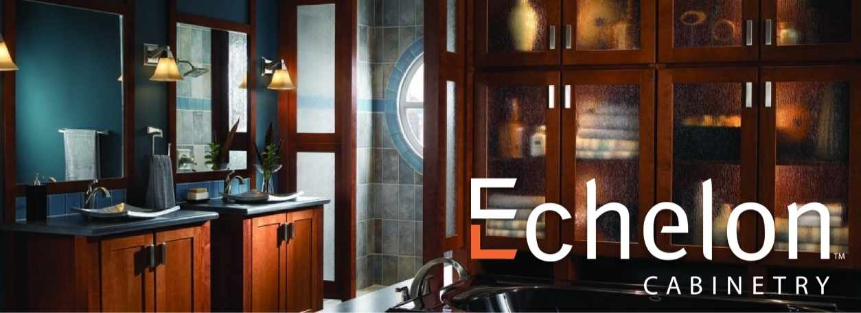 Echelon Cabinetry logo with Echelon cabinets in kitchen