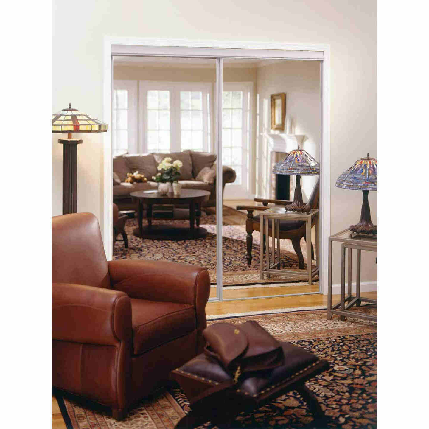 Erias 4050 Series 59 In. W. x 80-1/2 In. H. Bright White Top Hung Mirrored Bypass Door Image 1