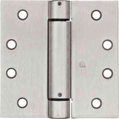 National 4 In. Satin Nickel Square Spring Door Hinge
