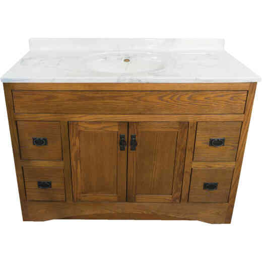 CraftMark Craftsmen Estate Oak 48 In. W x 34 In. H x 21 In. D Vanity Base, 2 Door/4 Drawer
