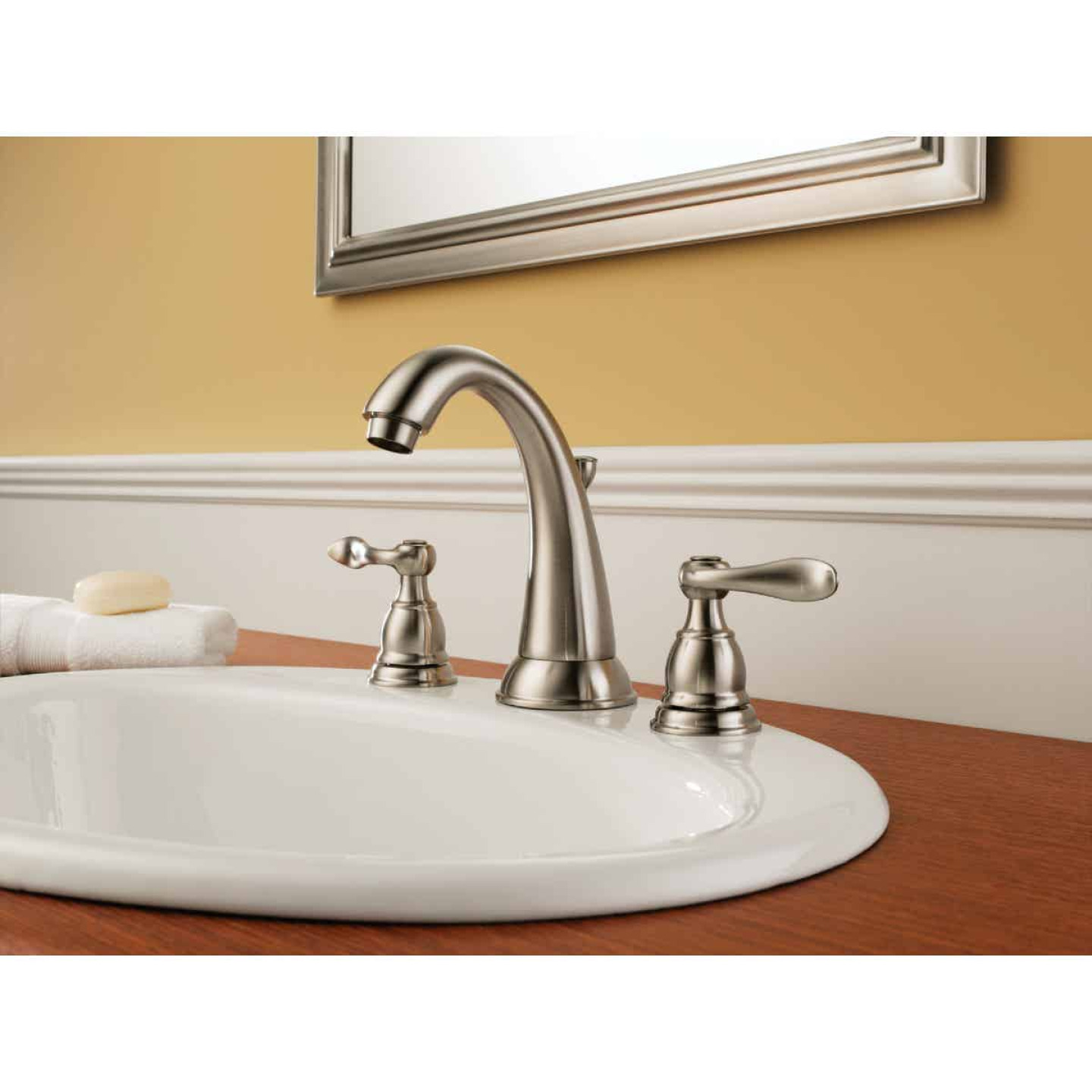 Delta Windmere Stainless 2-Handle Lever 6 In. to 16 In. Widespread Bathroom Faucet with Pop-Up Image 2