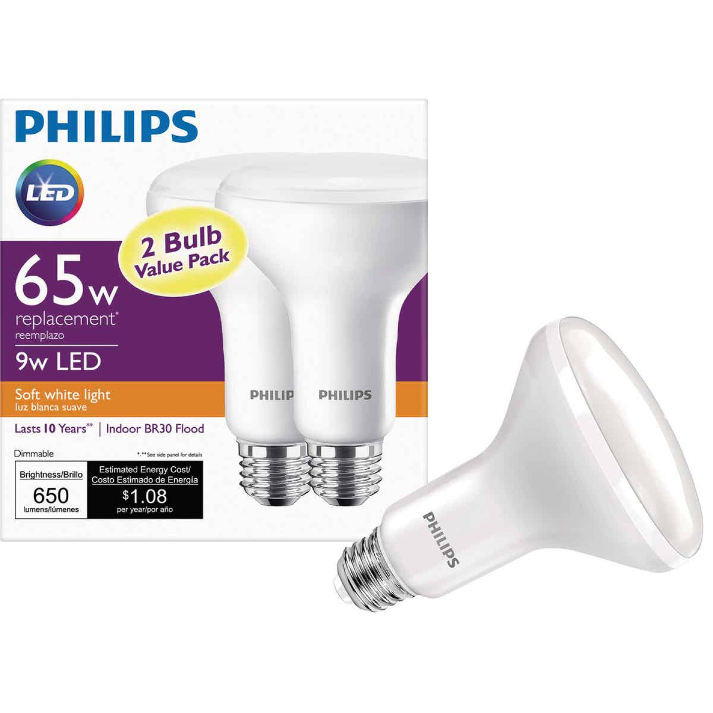 Philips 65W Equivalent Soft White BR30 Medium Dimmable LED Floodlight Light Bulb (2-Pack) Image 1