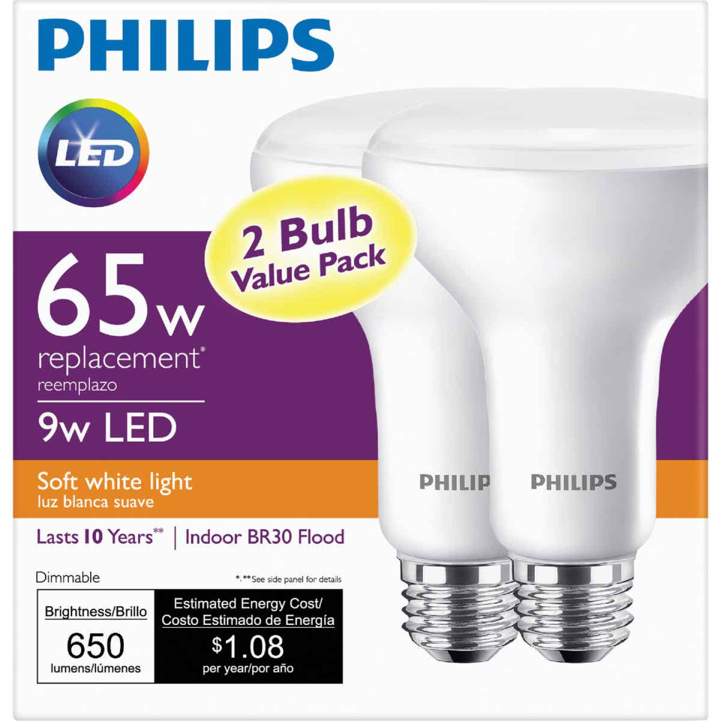 Philips 65W Equivalent Soft White BR30 Medium Dimmable LED Floodlight Light Bulb (2-Pack) Image 2