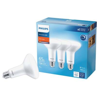 Philips 65W Equivalent Soft White BR30 Medium Dimmable LED Floodlight Light Bulb (3-Pack)