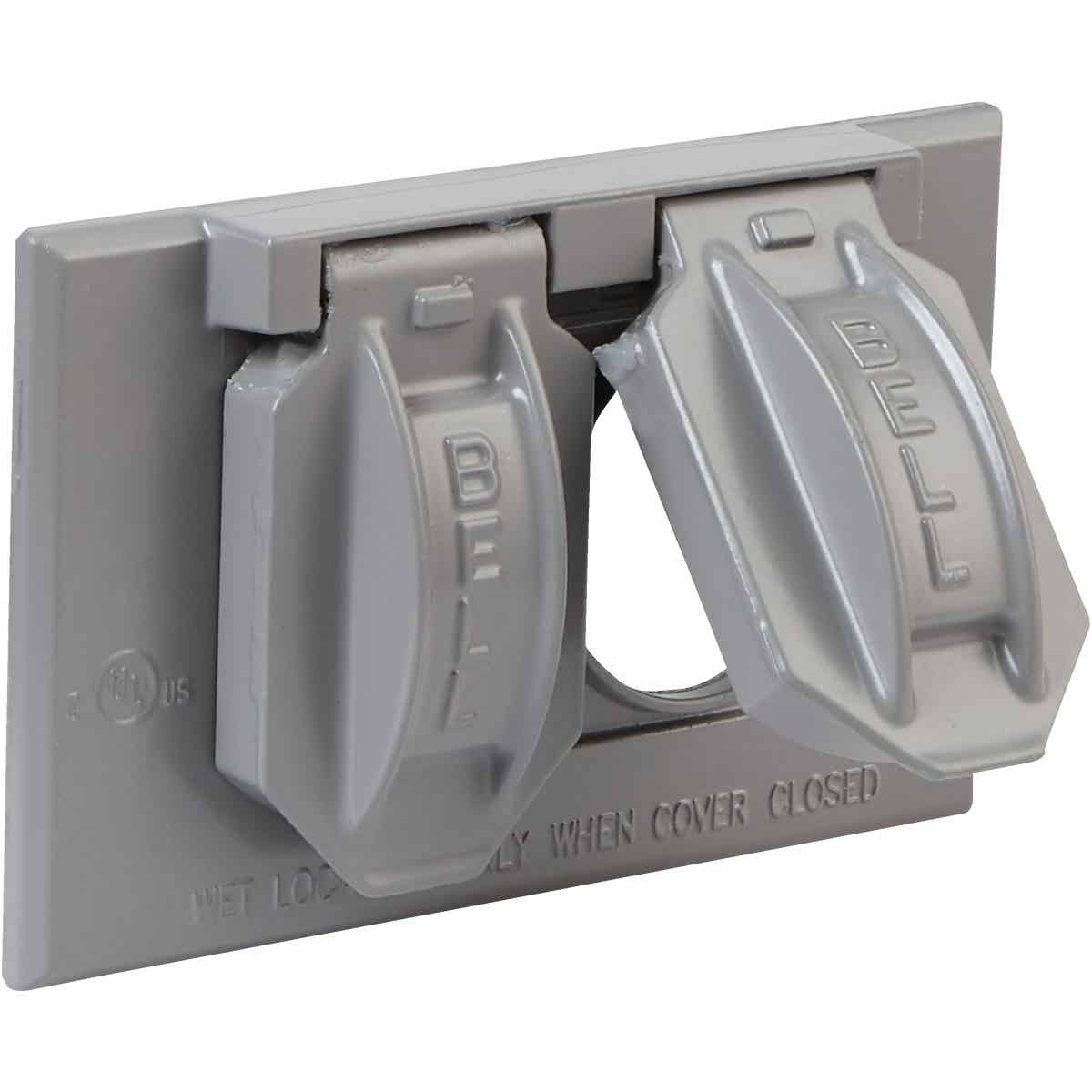 Bell Horizontal Mount Duplex Aluminum Gray Weatherproof Outdoor Outlet Cover