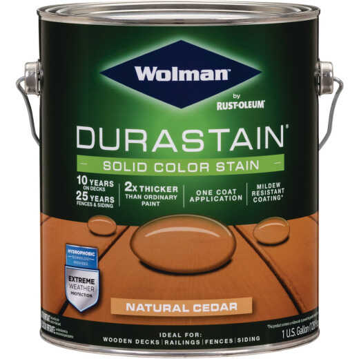 Wolman DuraStain One Coat Solid Color Exterior Stain, Natural Cedar 1 Gal.